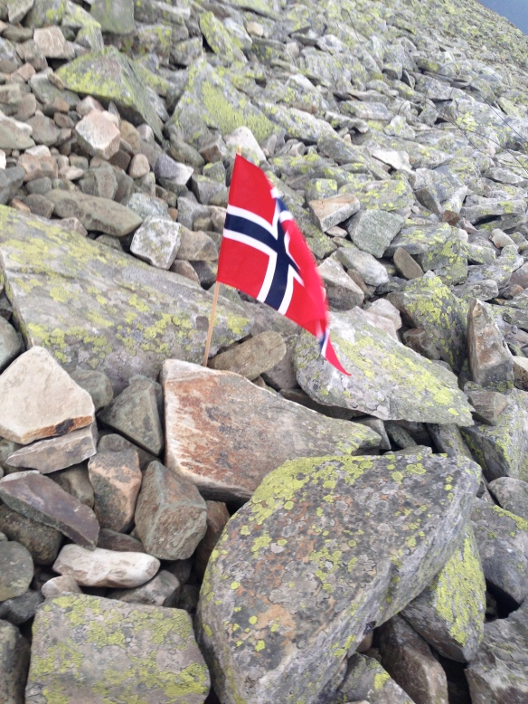 De norska flaggorna prydde vägen upp till Gaustatoppen