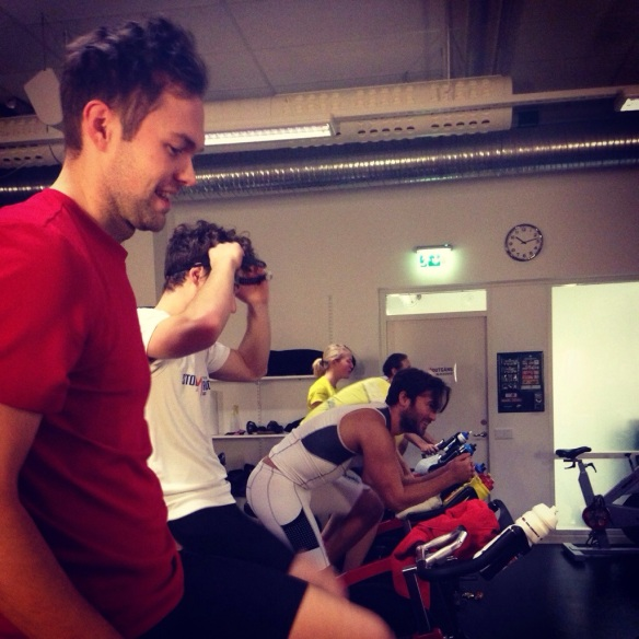 Johan och Tobbe var toktaggade för dagens spinning!! :)