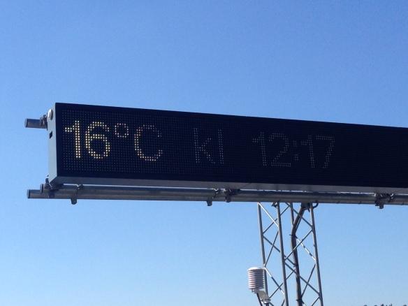 16 ljuvliga grader vid lunchtid.