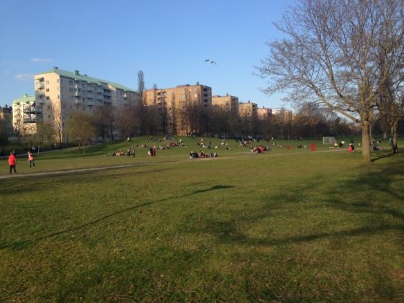 Nu börjar parkerna fyllas av människor som vill njuta ute i vårsolen. Härligt :)