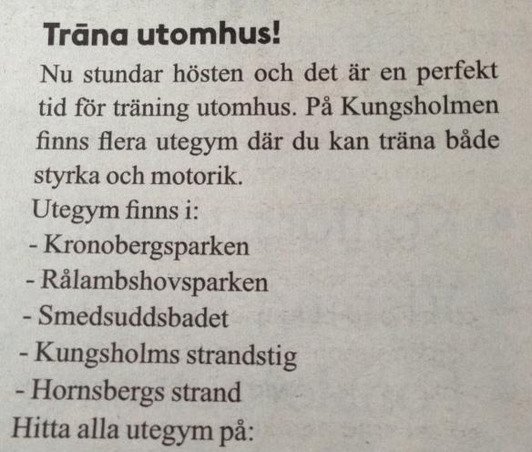 Så här ser det ut i mina krokar på Kungsholmen. Hela fem stycke  utegym att träna på! Vardagslyx skulle jag kalla det.